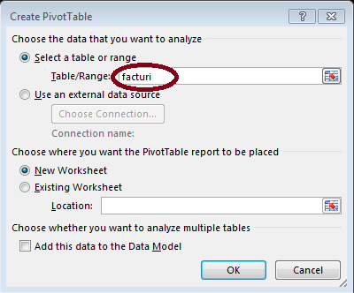 Insert Pivot Table - Excel 2013