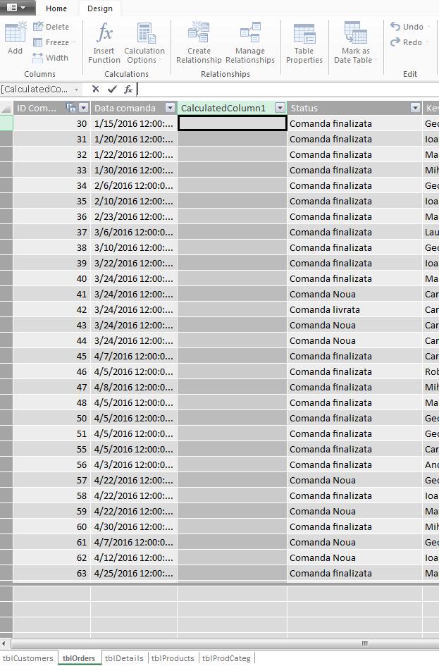 Power Pivot - Inserare coloana calculata - Microsoft Excel 2013
